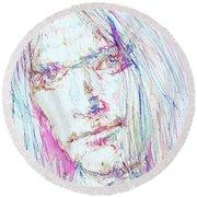 Neil Young - Colored Pens Portrait Round Beach Towel by Fabrizio Cassetta