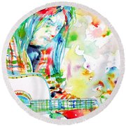 Neil Young Playing The Guitar - Watercolor Portrait.1 Round Beach Towel by Fabrizio Cassetta