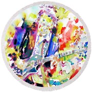 Neil Young Playing The Guitar - Watercolor Portrait.2 Round Beach Towel by Fabrizio Cassetta
