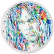 Neil Young - Watercolor Portrait Round Beach Towel by Fabrizio Cassetta