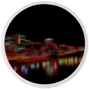 Neon Nashville Skyline At Night Round Beach Towel by Dan Sproul