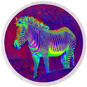 Neon Zebra Round Beach Towel by Jane Schnetlage