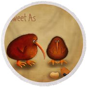 New Arrival. Kiwi Bird - Sweet As - Boy Round Beach Towel by Marlene Watson