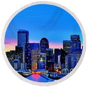 New Seattle Day Round Beach Towel by Benjamin Yeager