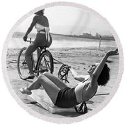 New Sport Of Ice Planing Round Beach Towel by Underwood Archives