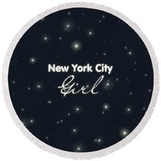 New York City Girl Round Beach Towel by Pati Photography
