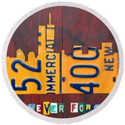 New York City Skyline License Plate Art 911 Twin Towers Statue Of Liberty Round Beach Towel by Design Turnpike
