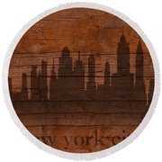 New York City Skyline Silhouette Distressed On Worn Peeling Wood Round Beach Towel by Design Turnpike