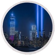 New York City Tribute In Lights Round Beach Towel by Susan Candelario