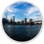 New York Skyline - Color Round Beach Towel by Nicklas Gustafsson