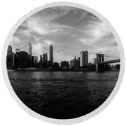 New York Skyline Round Beach Towel by Nicklas Gustafsson