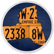 New York State License Plate Map Round Beach Towel by Design Turnpike