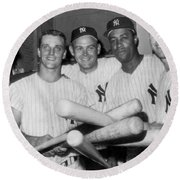 New York Yankee Sluggers Round Beach Towel by Underwood Archives