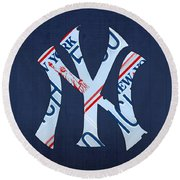 New York Yankees Baseball Team Vintage Logo Recycled Ny License Plate Art Round Beach Towel by Design Turnpike