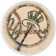 New York Yankees Poster Vintage Round Beach Towel by Florian Rodarte