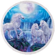 Night Horses Round Beach Towel by Jan Patrik Krasny