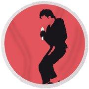 No032 My Michael Jackson Minimal Music Poster Round Beach Towel by Chungkong Art