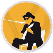 No054 My Johnny Lee Hooker Minimal Music Poster Round Beach Towel by Chungkong Art