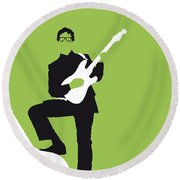 No056 My Buddy Holly Minimal Music Poster Round Beach Towel by Chungkong Art