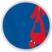 No201 My Spiderman Minimal Movie Poster Round Beach Towel by Chungkong Art