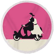 No205 My Roman Holiday Minimal Movie Poster Round Beach Towel by Chungkong Art