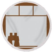 No238 My Rear Window Minimal Movie Poster Round Beach Towel by Chungkong Art