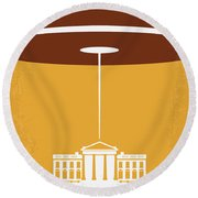 No249 My Independence Day Minimal Movie Poster Round Beach Towel by Chungkong Art