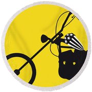 No333 My Easy Rider Minimal Movie Poster Round Beach Towel by Chungkong Art
