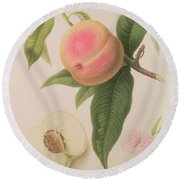 Noblesse Peach Round Beach Towel by William Hooker