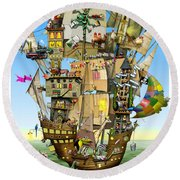 Norah's Ark Round Beach Towel by Colin Thompson