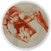 North American Minotaur Red Sketch Round Beach Towel by Derrick Higgins
