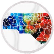 North Carolina - Colorful Wall Map By Sharon Cummings Round Beach Towel by Sharon Cummings
