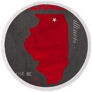 Northern Illinois University Huskies Dekalb Illinois College Town State Map Poster Series No 079 Round Beach Towel by Design Turnpike