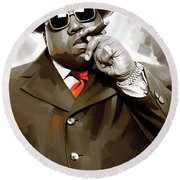 Notorious Big - Biggie Smalls Artwork 3 Round Beach Towel by Sheraz A