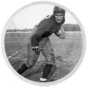 Notre Dame Star Halfback Round Beach Towel by Underwood Archives