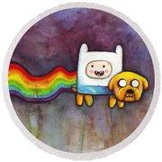 Nyan Time Round Beach Towel by Olga Shvartsur