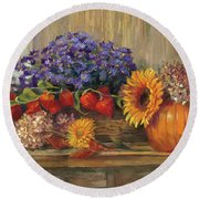 October Still Life Round Beach Towel by Carol Rowan