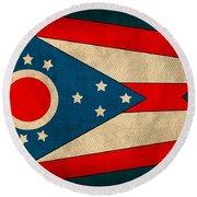 Ohio State Flag Art On Worn Canvas Round Beach Towel by Design Turnpike