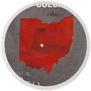 Ohio State University Buckeyes Columbus Ohio College Town State Map Poster Series No 005 Round Beach Towel by Design Turnpike