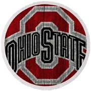 Ohio State University On Worn Wood Round Beach Towel by Dan Sproul