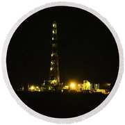 Oil Rig Round Beach Towel by Jeff Swan