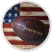 Old Football On American Flag Round Beach Towel by Garry Gay