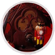 Old Raido And Christmas Nutcracker Round Beach Towel by Garry Gay