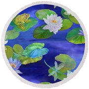 On Big Fresh Pond Round Beach Towel by Kimberly McSparran
