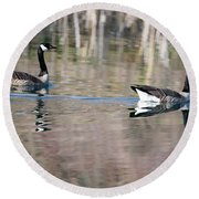 On Golden Pond Round Beach Towel by Mike Dawson