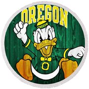 Oregon Ducks Barn Door Round Beach Towel by Dan Sproul