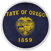 Oregon State Flag Art On Worn Canvas Round Beach Towel by Design Turnpike