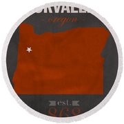 Oregon State University Beavers Corvallis College Town State Map Poster Series No 087 Round Beach Towel by Design Turnpike