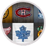 Original Six Hockey Team Retro Logo Vintage Recycled License Plate Art Round Beach Towel by Design Turnpike