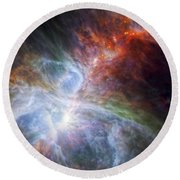 Orion's Rainbow Of Infrared Light Round Beach Towel by Adam Romanowicz